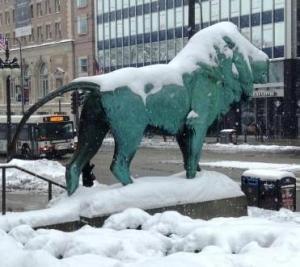 AI lion in snow